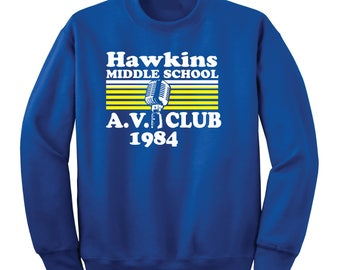 Hawkins Middle School AV Club Crew Sweatshirt
