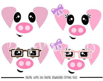 Pig faces svg / dxf / eps / png files. Digital download. Compatible with Cricut and Silhouette machines. Small commercial use ok.