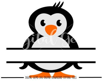 Penguin, Split Penguin svg / dxf / eps / png files. Digital download. Compatible with Cricut and Silhouette machines Small commercial use ok