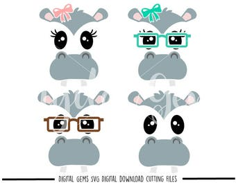 Hippo faces svg / dxf / eps / png files. Digital download. Compatible with Cricut and Silhouette machines. Small commercial use ok.