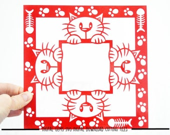 Peeping Cat paper cut svg / dxf / eps / files and pdf / png printable templates for hand cutting. Digital download. Small commercial use ok