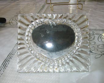 """Bleikrystal Heart Shaped Picture Frame 4 3/4"""" X 4"""" Made in Germany"""