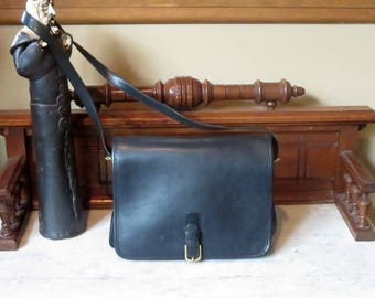 Spring Sale Coach Saddle Pouch 'Large' In Black Leather- Style No. 9585 - Made In New York City At 'The Factory'- VGC