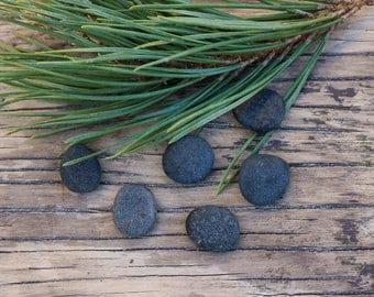 Small Black Stones - Tiny Flat Pebbles - Natural Tumbled Rocks - Jewelry Making Supplies