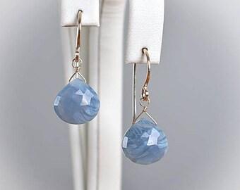 Blue Opal Earrings, October Birthstone Earrings, Heart cut, Blue Peruvian Opal drop Earrings: 14k Rose Gold, Gold Filled, Sterling Silver