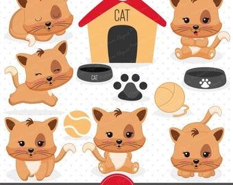 80% OFF SALE Cat clipart, Kitten clipart, Kitty clip art, Commercial use clipart, Kawaii clipart - CA418