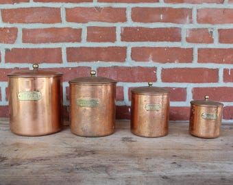 Vintage Copper Plated Canister Set