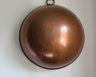 Vintage Large Copper Bowl Mixing Bowl Rounded with Brass Hook