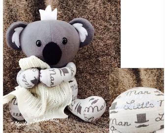 One sleeper memory bear keepsake bear memorial personalized memory koala bear from baby clothes receiving blanket bear memory bear handmade negle Choice Image