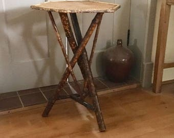 Antique Bamboo Occasional Table, Victorian Bamboo Cricket Style Table
