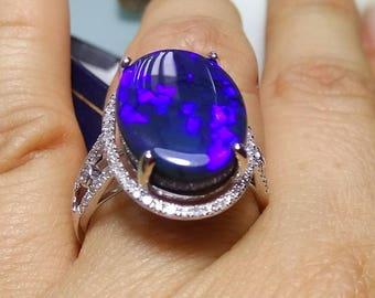 Opal Ring 14K Gold size 9 AUSTRALIAN OPAL Diamonds
