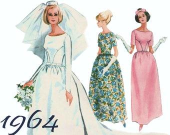 "Vintage Wedding Dress Detachable Train McCALLS 7572 sz 13 bust 33"" 1960s Wedding Dress Modest Wedding Dress Long Sleeve Wedding Dress"