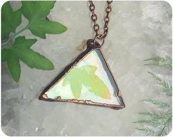 Triangle glass frame iridescent pressed ivy locket pendant necklace copper electroformed jewelry geometric nature leaf flower hippie