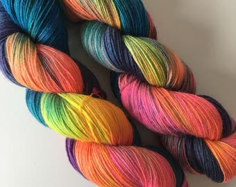 Hand Dyed 4ply Bluefaced Leicester BFL Nylon Platinum Sock Aurora - Northern Lights