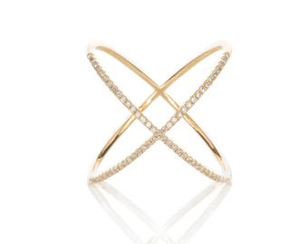 EF Collection - X Diamond Ring, Yellow Gold