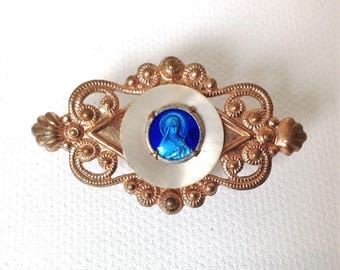 Vintage french St Therese brooch, religious jewelry, christian pin, blue enamel brooch