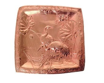 Antique french copper ring dish, jewelry display, ring bowl, ring holder, trinket dish , herons in river