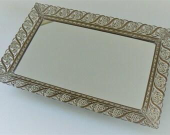 Vanity Mirror Tray, Gold-tone Metal Vanity Tray, Rectangular Mirror Tray, Perfume Tray, Vintage Vanity Mirror, Dresser Tray