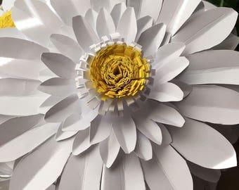 Paper flowers/white daisies /yellow center/stemmed paper flowers/daisy decor/white daisy paper flowers