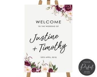 Digital Floral Wedding Welcome Sign, Free Font Colour Changes, Flower Wedding Poster, DIY Printable Wedding Sign, Justine Suite