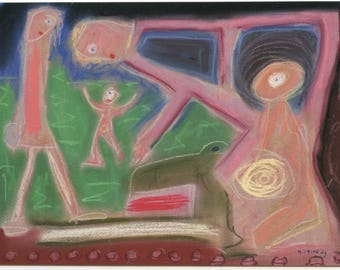 ATC Artist Trading Card #27 Family Fun - limited edition ink jet print of 2006 outsider art brut pastel by Denis Grundmann(dg)