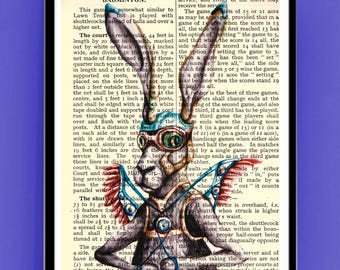 Steampunk Hare Print, wall decoration, Printed on dictionary pages or Plain Paper