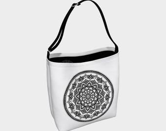 Reusable Tote Bag - Black & White Mandala