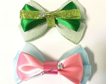 Tinker Bell, Fairy Godmother, hair bows, Disney, accessory, green, pink, blue, clip, birthday, magic wand, women, girls, gift, glitter