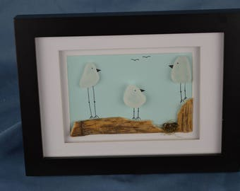 Bird scene seaglass art, 6in x 8in framed seaglass, coastal decor, 3 birds, beach house, family of 3