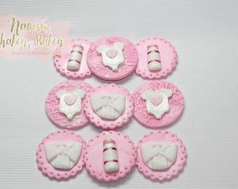 Girl baby Shower Edible Cupcake Toppers