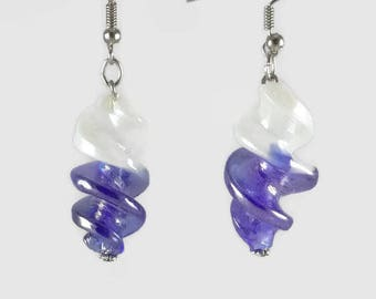White and Blue Iridescent Twisted Murano Earrings - Jewelry 123Pierres