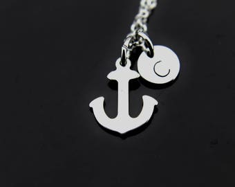 Sailor Gift Anchor Necklace Silver Anchor Charm Necklace Anchor Charm Anchor Jewelry Personalized Necklace Initial Charm Initial Necklace