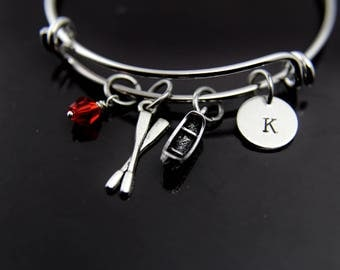 Traveler Gift, Travel Gift, Adventure Gift, Outdoors Gift, Oar Canoe Rowing Bangle, Oar Canoe Rowing Charm Bracelet ,Oar Charm Canoe Charm