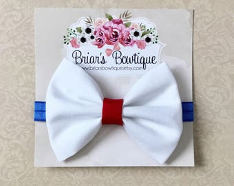 Red white and blue bow headband; Baby headband; 4th of July bow; 4th of July headband; White bow; Baby girl; baby, toddler, or girl