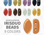 IrisDuo 2-Hole Beads Vector Clip art Pack - ai, eps, pdf, png