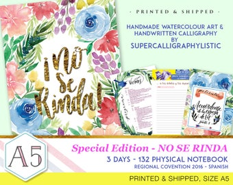 No Se Rinda-Convention Notebook-Handmade Watercolour Art-Supercalligraphylistic-Physical Item - 132 pages - Spanish