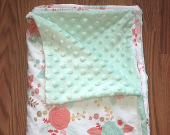 Mint and Coral Baby Blanket | Baby Blanket for Girl | Baby Shower Gift | Minky Baby Blanket | Baby Bedding | Baby Nursery | Stroller