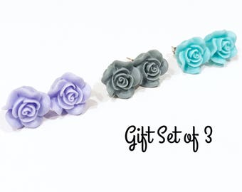 rosette earring trio, rose earrings stud, stud earring set, gift set for her, rose gifts, earring gift, valentines day gift, rose studs