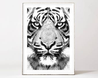 Tiger print, tiger, tiger poster, tiger wall art, tiger art, black and white animal print, safari art, safari animals, animal prints