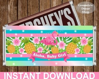 Flamingo Chocolate Bar Girl Luau Pink Teal Hawaiian Baby Shower Candy Bar Chocolate Wrappers Favor Hershey Bar Printable pool beach CBBSFL1