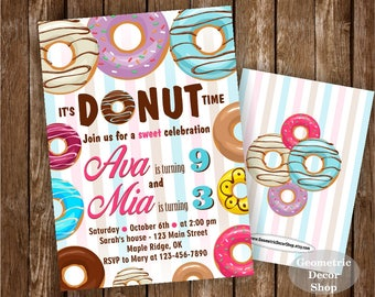 Donut Birthday Party Invitation doughnut Party Invitation girl birthday pink purple teal boy girl joint combined dual double twins BDonut6