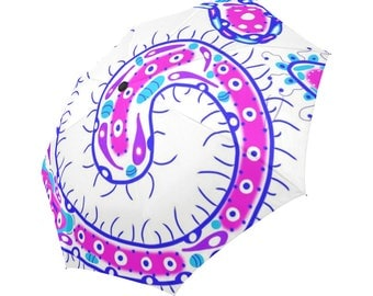 Crazy Fingers - Automatic Foldable Rain Umbrella - Pink, White & Blue