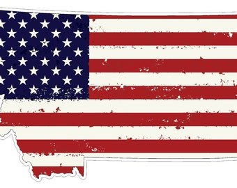Montana State (J27) USA Flag Distressed Vinyl Decal Sticker Car/Truck Laptop/Netbook Window