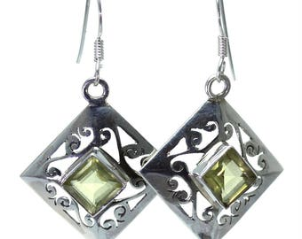 Lemon Quartz Earrings, 925 Sterling Silver, Unique only 1 piece available! color yellow, weight 4.9g, #24867