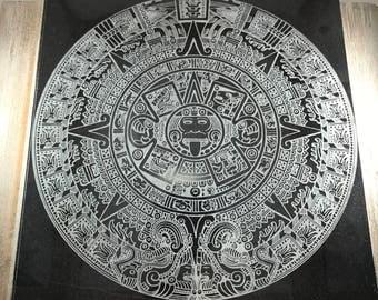 Laser engraved Mayan calendar on Granite tile
