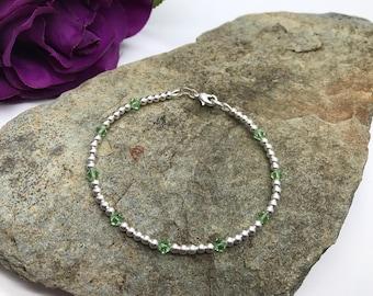 Silver August Birthstone Bracelet