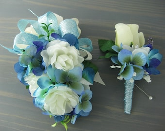 Wedding Prom Metallic Blue Cream Roses Flower Wrist Corsage or 2pc with Boutonniere