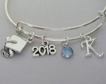 2018 Graduation Cap Charm Adjustable Bangle W/ Birthstone /  Initial / 8th Grade / High School / College Grad. Bracelet  Usa  GD1
