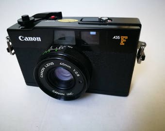 Canon A35 F with New Light Seals. Vintage Ready-To-Use 1970s Auto Exposure Rangefinder Camera with Defective Flash