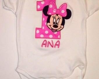 Hot Pink Minnie Mouse 1st Birthday Onesie Pink Minnie Mouse 1st Birthday Shirt Minnie Mouse Girls Birthday Shirt Personalized Onesie